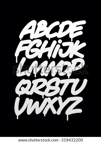 Hand written graffiti font alphabet. Vector - stock vector
