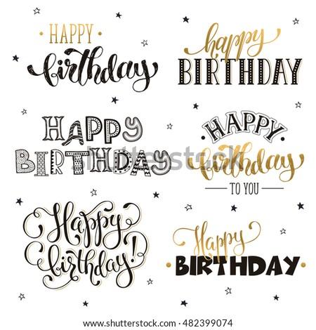 Birthday Greeting Card Flowers Hand Drawn Stock Vector