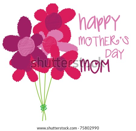hand written mothers day - stock vector