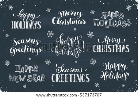 Hand written new year phrases greeting stock vector royalty free hand written new year phrases greeting card text template with snowflakes drawn on chalkboard m4hsunfo