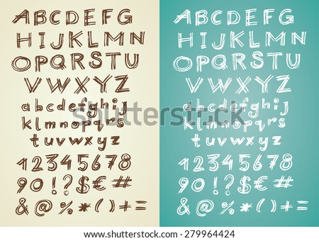 Hand written retro vector font - hand drawn alphabet with numbers and special symbols - stock vector