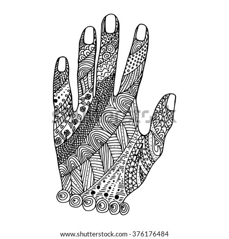 Hand zen tangle and doodle. Arm tattoo, coloring book. Zentangle vector.