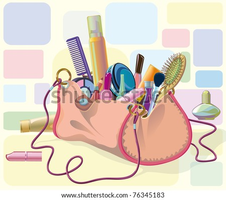 handbag filled with objects of his care and cosmetics. Objects do not cut to form bags, can be used separately - stock vector