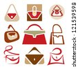 Handbags vector icons set. Handbags creative signs collection. Bag logo sign. Bags shop symbol. Vector logo template. Design elements.  - stock vector
