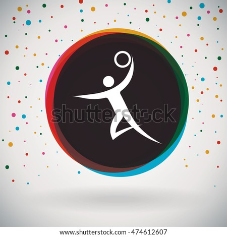 Handball - Colorful icon and sports background