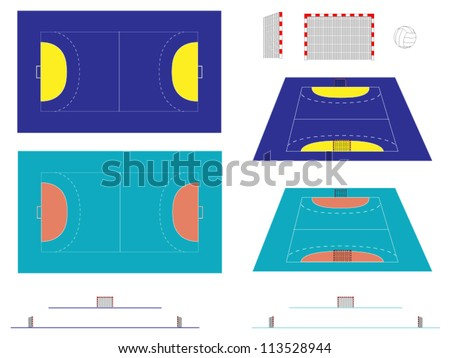 Handball Court  with Sections and Perspective - stock vector