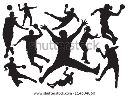 handball players silhouette - stock vector