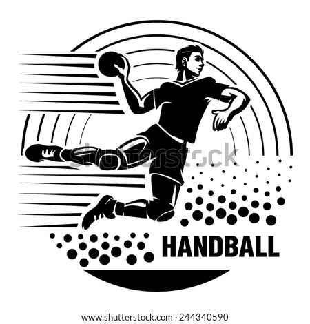 Handball. Vector illustration in the engraving style - stock vector