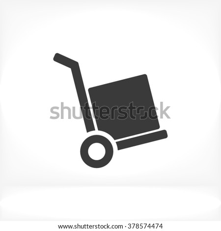 Handcart box Icon, handcart box icon flat, handcart box icon picture, handcart box icon vector, handcart box icon EPS10, handcart box icon graphic, handcart box icon object, handcart box icon JPEG - stock vector