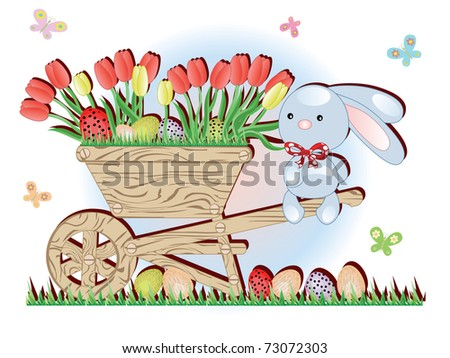 Handcart with tulips and bunny