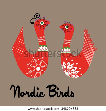 Handcrafted nordic birds male and female snowflakes  - stock vector
