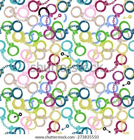 Handcuffs and keys seamless pattern - stock vector