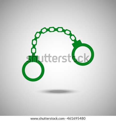 Handcuffs icon. Flat style. Grey background. Vector illustration.