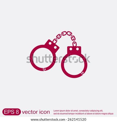 handcuffs icon. symbol of justice . police icon - stock vector