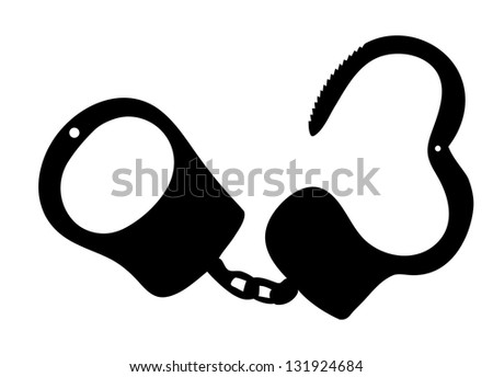 handcuffs silhouettes vector illustration on white background - stock vector