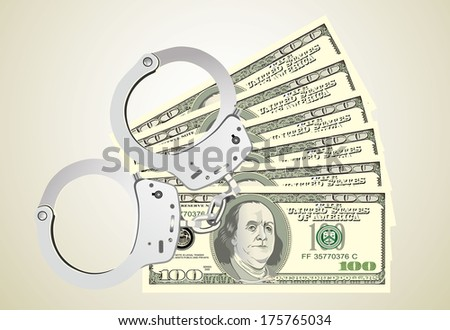 handcuffs with money - stock vector