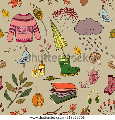Handdrawn autumn seamless pattern - stock vector