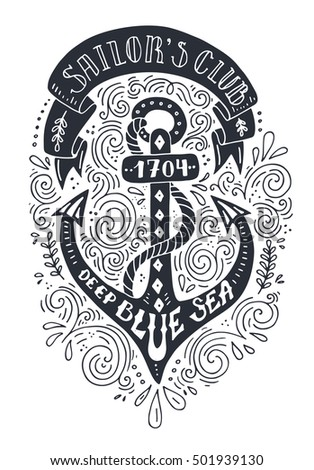 Handdrawn black and white nautical poster with unique lettering unique t shirt or bag