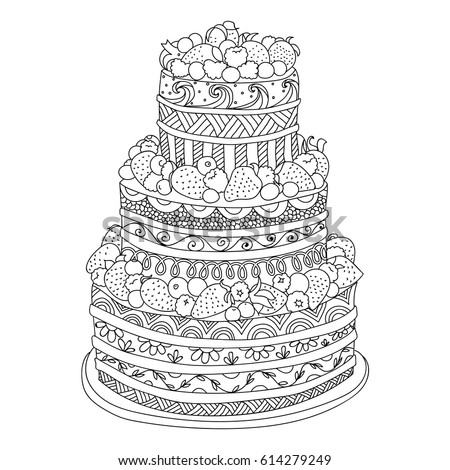 Handdrawn Doodle Cake Berries Coloring Book Stock Photo (Photo ...