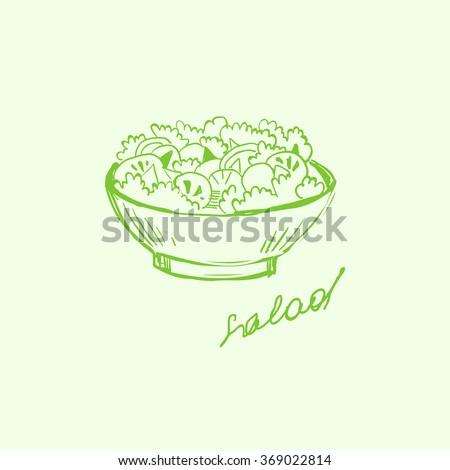 Handdrawn Fast Food and Fruits. Hand drawn Vector Illustartion - stock vector