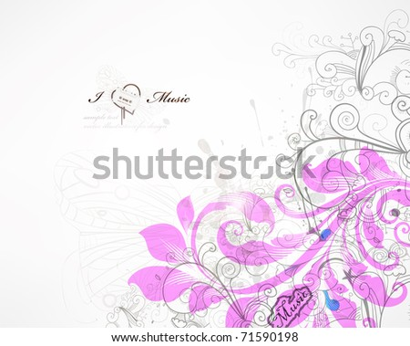 handdrawn floral design elements - stock vector