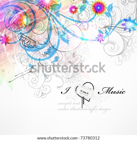 Handdrawn floral design elements. Spring music design. eps 10. - stock vector