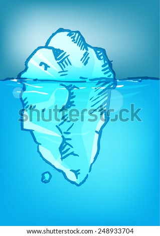 Handdrawn Iceberg Sketch with blue color - stock vector