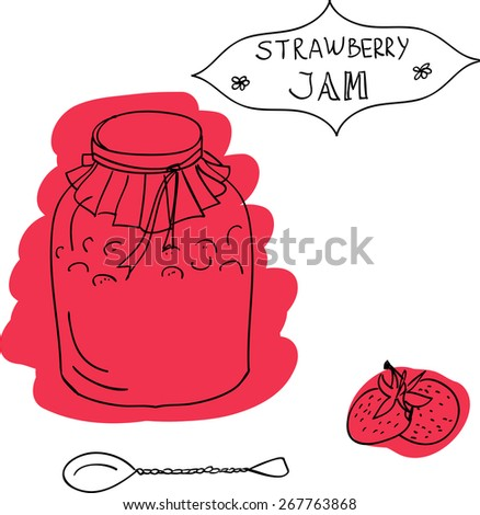 Handdrawn Jar of Strawberry Jam with Spoon and Sticker. Design Elements. Vector Illustration - stock vector