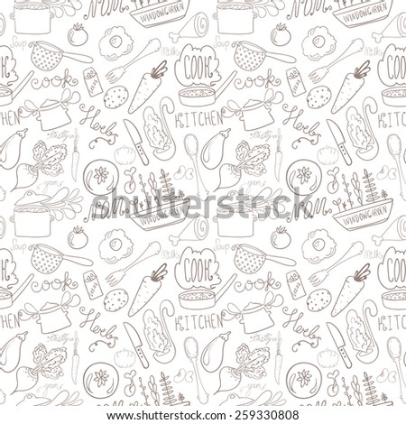 handdrawn kitchen doodle seamless pattern - stock vector