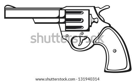 handgun (pistol vector, old revolver)