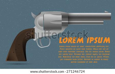 Handgun (Pistol Vector, Pistol Gun, Old Revolver) - stock vector