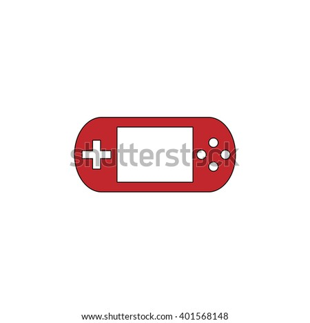 Handheld game console. Red flat simple modern illustration icon with stroke. Collection concept vector pictogram for infographic project and logo - stock vector