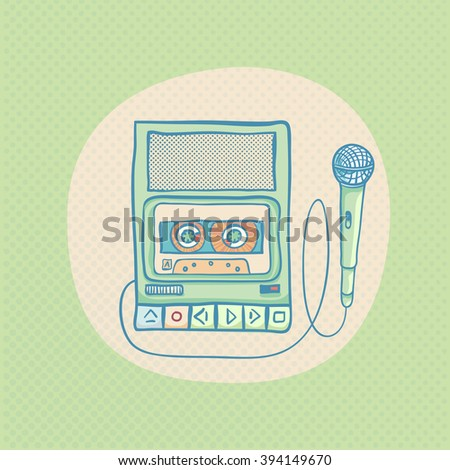 Handheld tape recorder with microphone. Hand drawn retro illustration with sunburst. Suitable for banner, ad, t-shirt design. Vintage design element