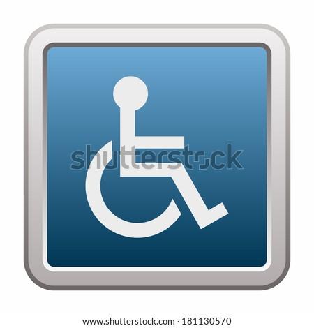 Handicap or wheelchair person (button) - stock vector
