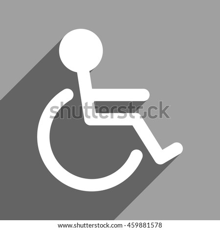 Handicapped long shadow vector icon. Style is a flat handicapped white iconic symbol on a gray square background. - stock vector