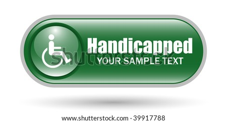 Handicapped Sign Icon with Copy Space - stock vector