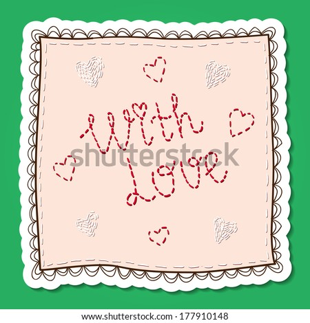 Handkerchief with embroidery. Vector card concept. Romantic tender design