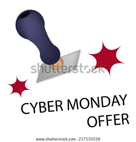 "Handle Stamper Ready to Stamping ""Black Friday Offer"" for Cyber Monday Shopping Season and Biggest Discount Promotion in A Year.  - stock vector"