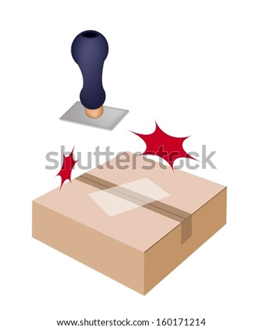 Handle Stamper Ready to Stamps on White Label and Sealed Cardboard Box Isolated on White Background.  - stock vector