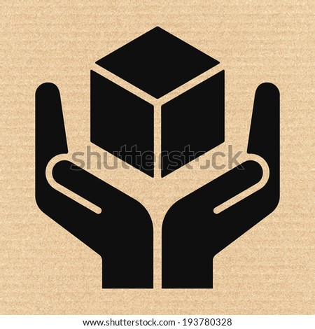 Handle with care sign on cardboard, vector illustration - stock vector