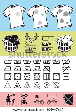 Handling and care of clothing. Picture symbols on clothing to help correct use of clothes and take care of it. Rules for washing and cleaning help. - stock vector