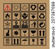 Handling & packing icon set including  fragile, recycle and caution signs etc. - can be used on the box or packaging  - stock