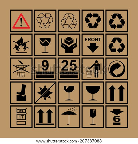 Handling & packing icon set including  fragile, recycle and caution signs etc. - can be used on the box or packaging  - stock vector