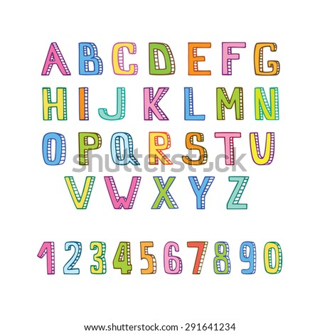 Handmade alphabet and numbers. Vector alphabet. Hand drawn letters. ABC for your design.