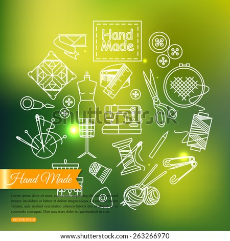 Handmade and sewing outline icons set over blurred shining background with place for text. Vector illustration. - stock vector