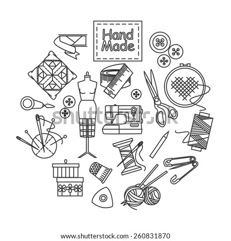 Handmade and sewing outline icons set. Vector illustration. - stock vector