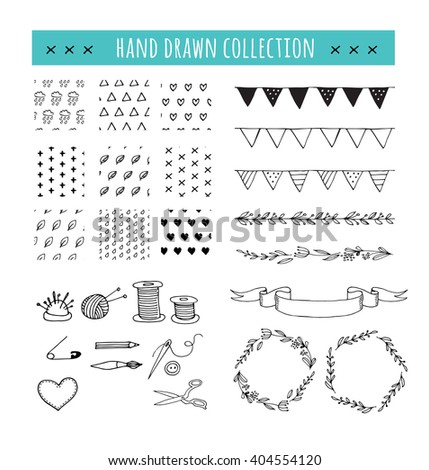 Handmade, crafts workshop icons, patterns and hand drawn illustrations - stock vector