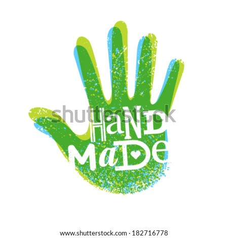 Handmade creative grunge vector lettering composition - stock vector
