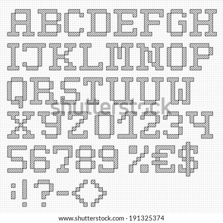 Handmade english font with numbers and symbols. Vector set of stitched letters on cloth texture