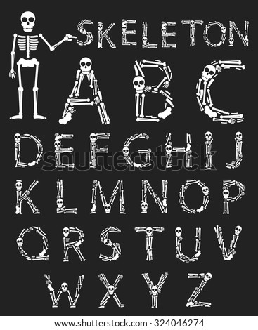 Handmade font with flat style design. Vector skeleton, bones and skull alphabet on a black background